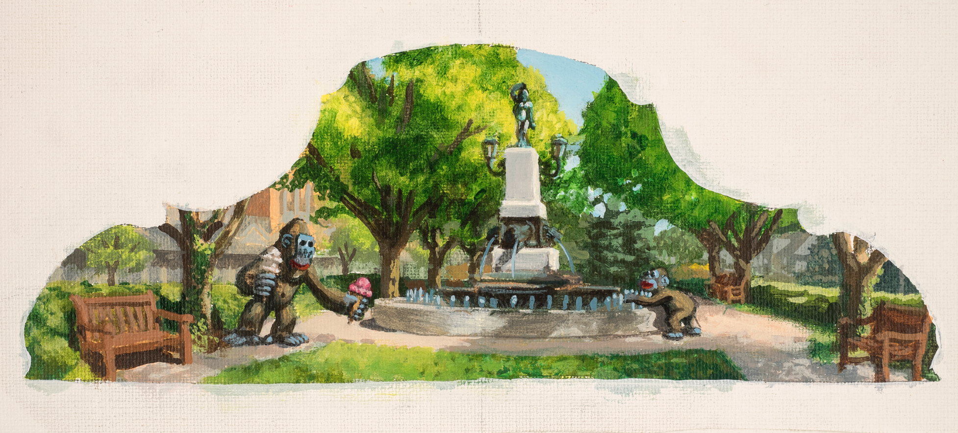 Jonathan Queen, Hyde Park Sqare  Acrylic on Canvas, 19x13 in.