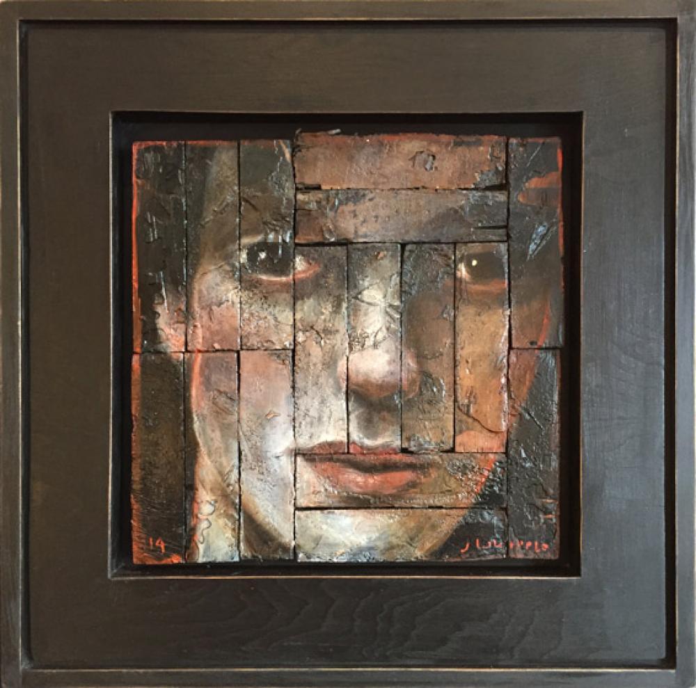 John Whipple, Mick  Oil on Parquet Salvage, 16x16 in.
