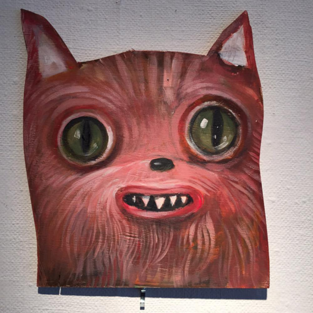 John Whipple, Paintingbomb Pink Cat  Oil on Wood, 10x8 in.