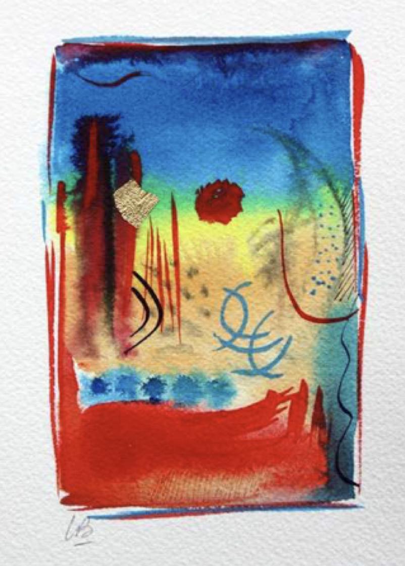 Lamar Briggs, Celebrate #2606  Watercolor, 7x5 in.