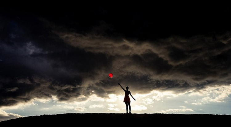 Tyler Shields, Red Balloon  Digital Chromogenic Print, 40x60 in.