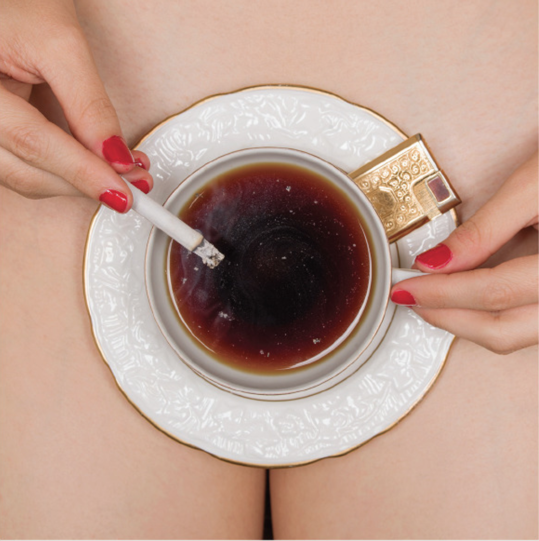 Tyler Shields, Coffee & Cigarettes  15 × 15 in; 38.1 × 38.1 cm