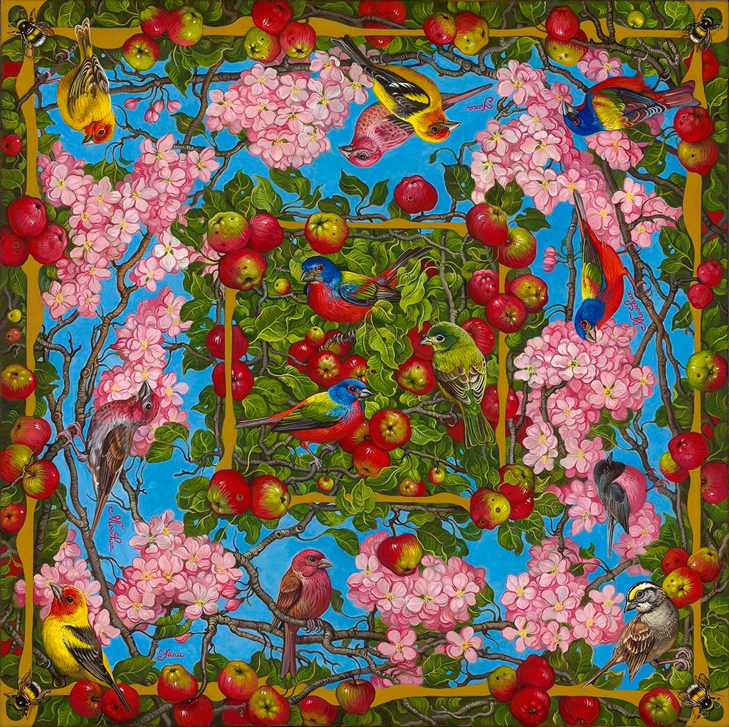 YANA MOVCHAN, Apple Blossoms with Birds and Bees  Oil, 30 in. x 30 in.