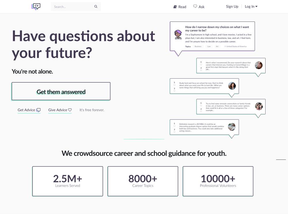 Screenshot of CareerVillage  (source)