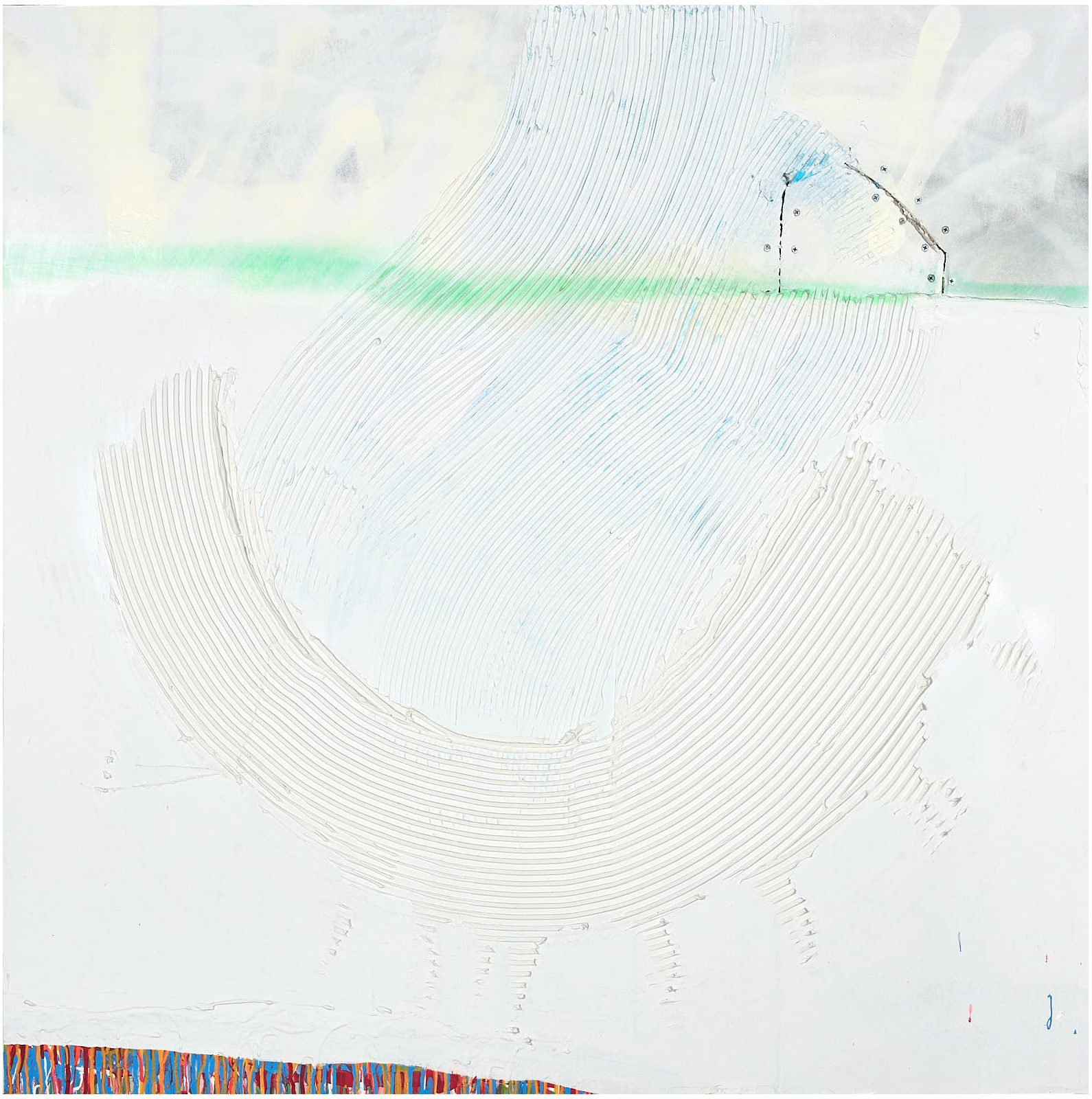 "Horizon   , 2018, 48""x48"", mixed-media, plaster, bone meal, acrylic, aerosol on wallboard (unavailable)"