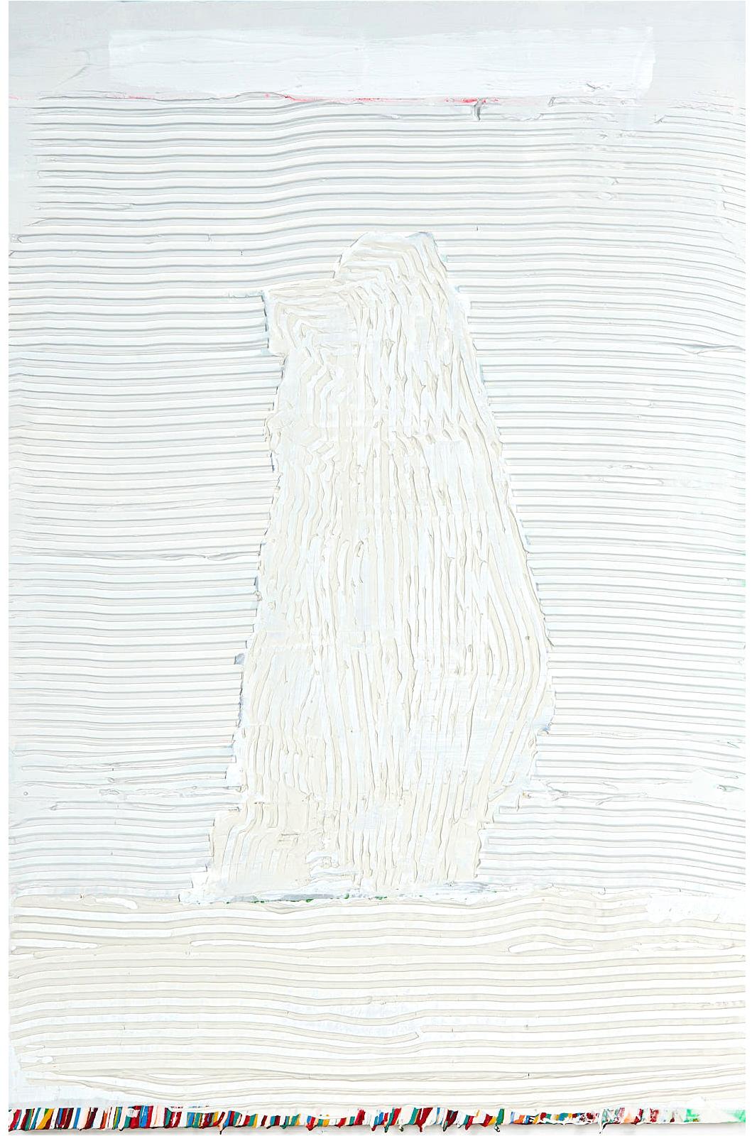 "Big Rock   , 2018, 24""x36"", mixed-media, plaster, bone meal, acrylic, aerosol on cotton (unavailable)"