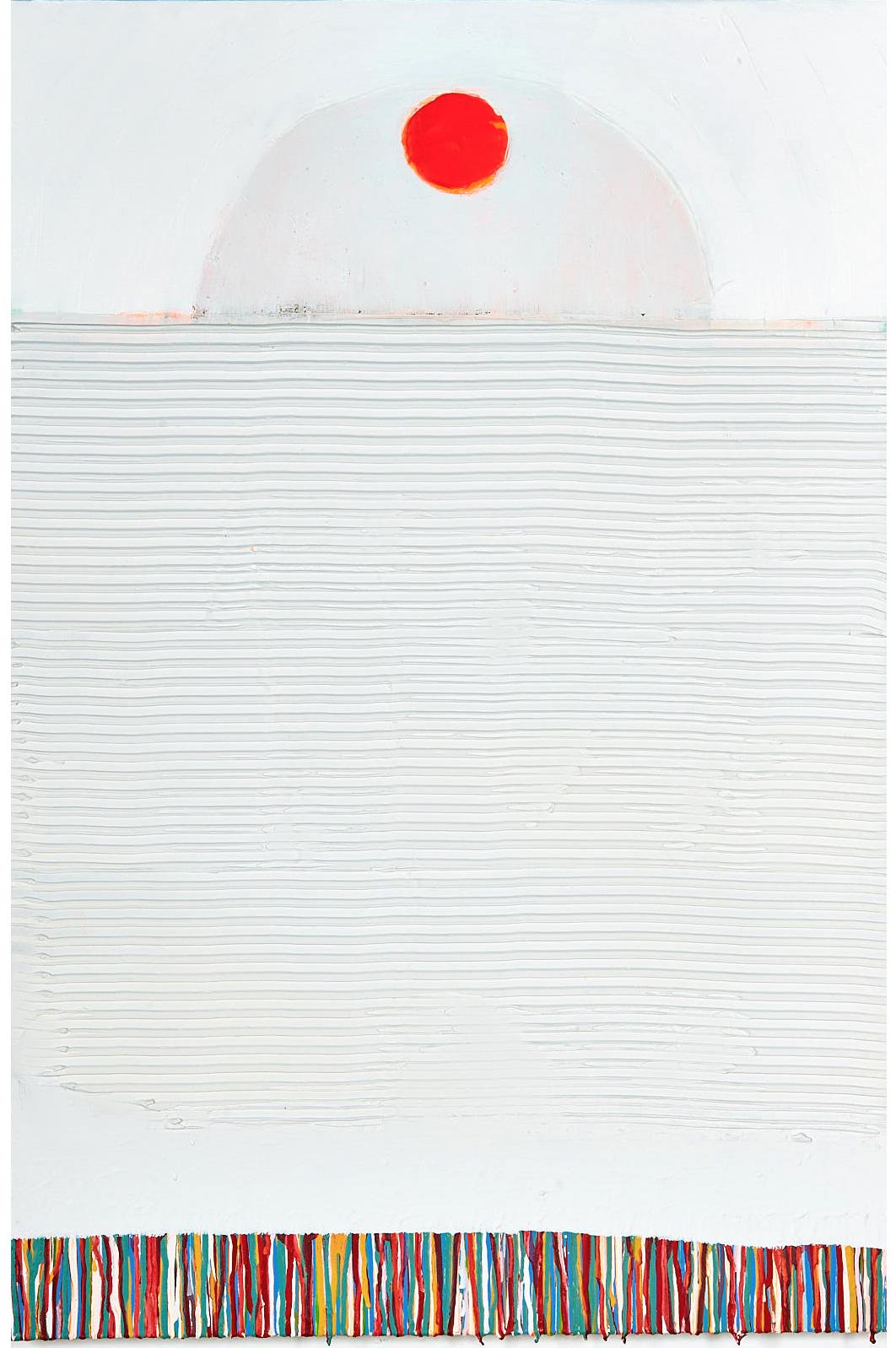 "Morning   , 2018, 24""x36"", mixed-media, plaster, bone meal, acrylic, aerosol on cotton (unavailable)"