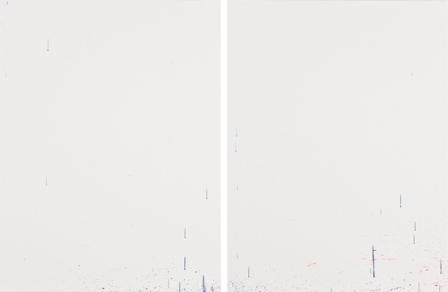 """Diptych 2 (from """"How We Are Likely To Feel When Our Needs Are Being Met""""),    2019, 39""""x25"""", acrylic on French Paper"""