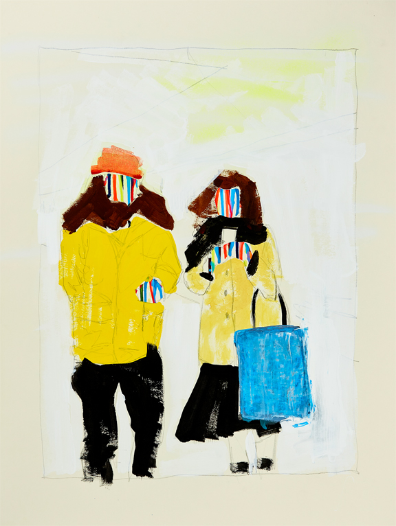 """Nick and Charlotte BART (from """"How We Are Likely To Feel When Our Needs Are Being Met""""),    2019, 19""""x25"""", graphite, aerosol, acrylic on French Paper"""