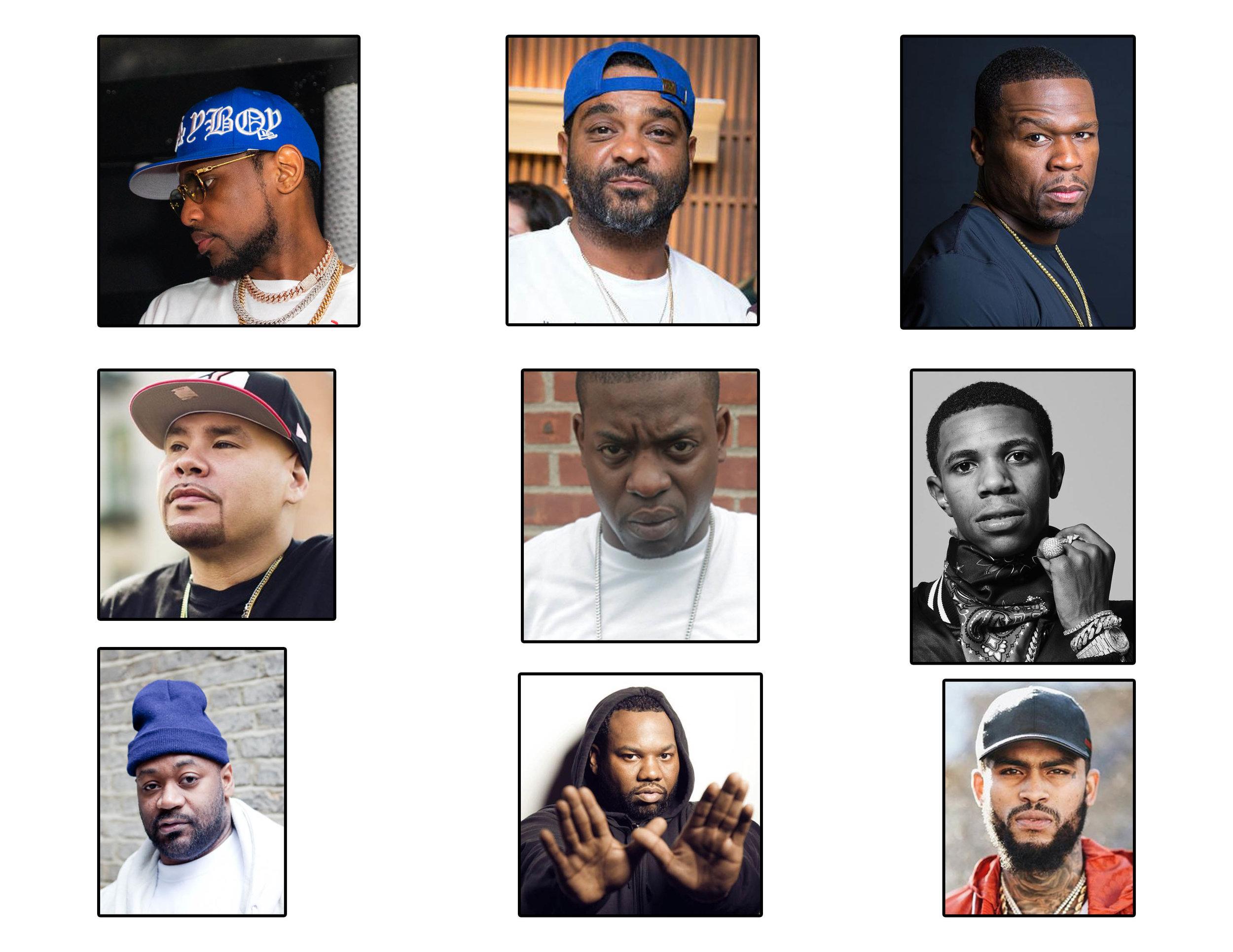 Brooklyn- Fabolous, Uncle Murda    Harlem- Dave East, Jim Jones    Queens- Clue, 50 Cent    Staten Island- Raekwon, Ghostface    Bronx- A Boogie, Fat Joe