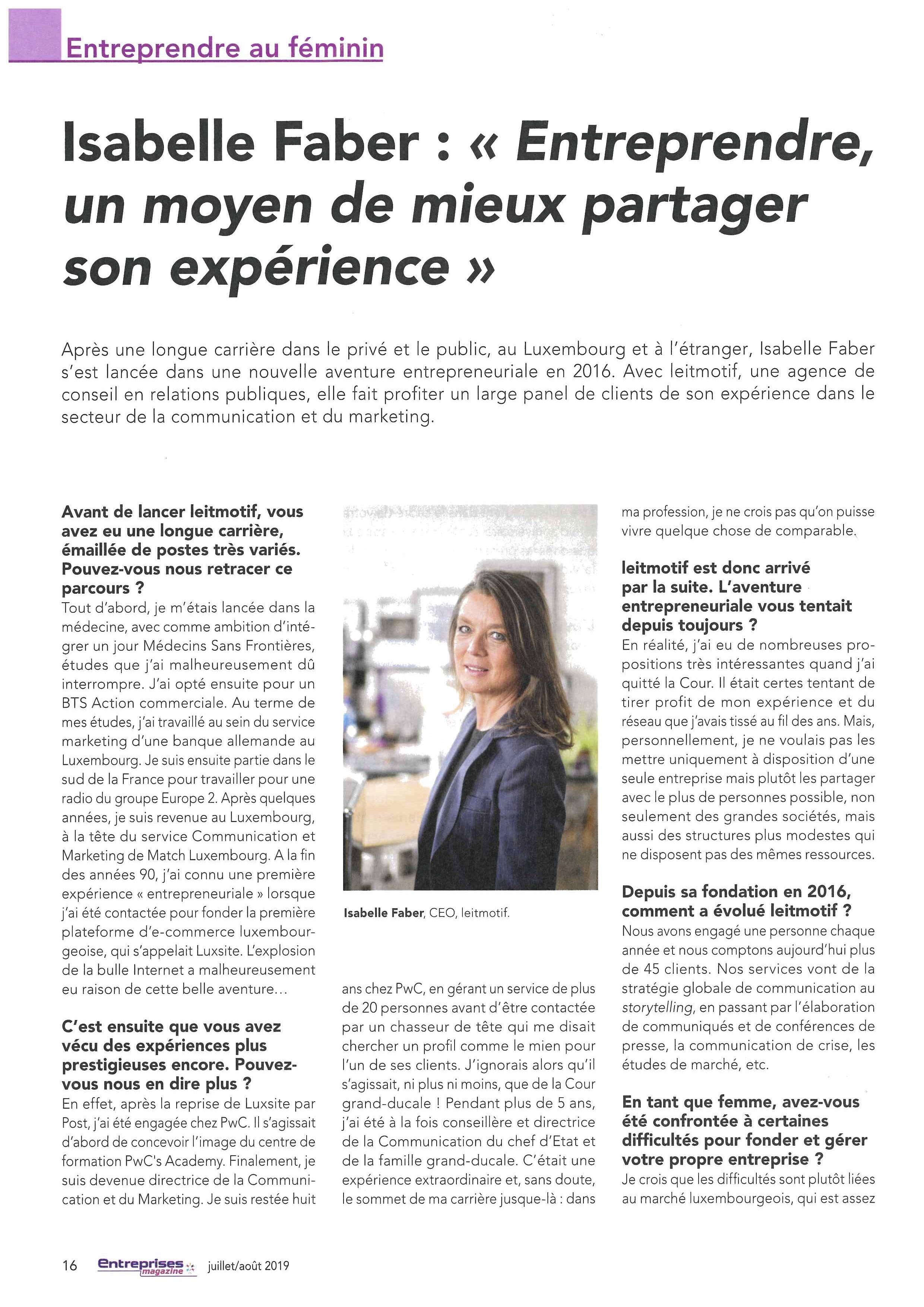 Entreprendre au féminin - Entreprises magazine