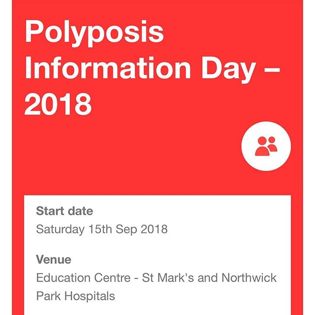Our annual Information Day 🔥 The Polyposis Information Day is for patients with a diagnosis of a polyposis syndrome and their families which will take place at St Mark's Hospital on Saturday 15th September 2018.  The purpose of the day is to provide information about polyposis through talks and informal sessions including a PolyPeople support group session. There will be lots of opportunities to ask questions in the Consultant Q+A session where you will also meet the team. The information day is a great way to meet other people and their families who are also affected by polyposis.  Sign up using the link in our bio, you won't regret it! 💕