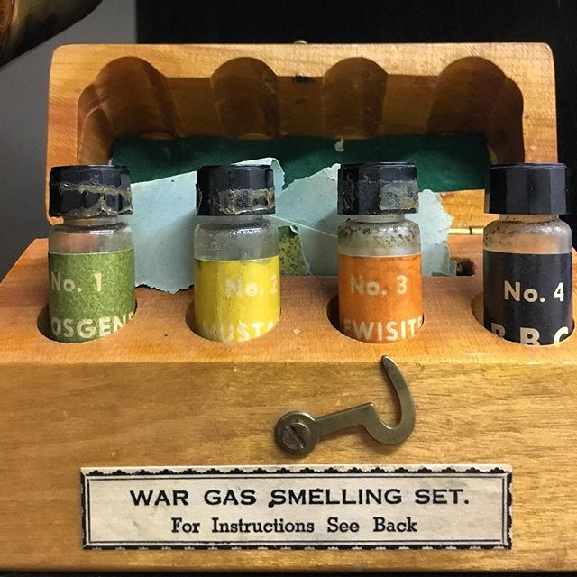Used during the Second World War, this kit (which contained fluids that smelled like chemical warfare agents) was used as a training aid to help soldiers identify weaponized chemicals. The necessity for such training was a lesson learned from the horrific chemical attacks that occurred during the First World War such as was experienced by The Royal Winnipeg Rifles in Ypres.  #royalwinnipegrifles #winnipeghistory #manitobahistory #canadianhistory #canadianmilitaryhistory #ww2 #worldwar2 #secondworldwar