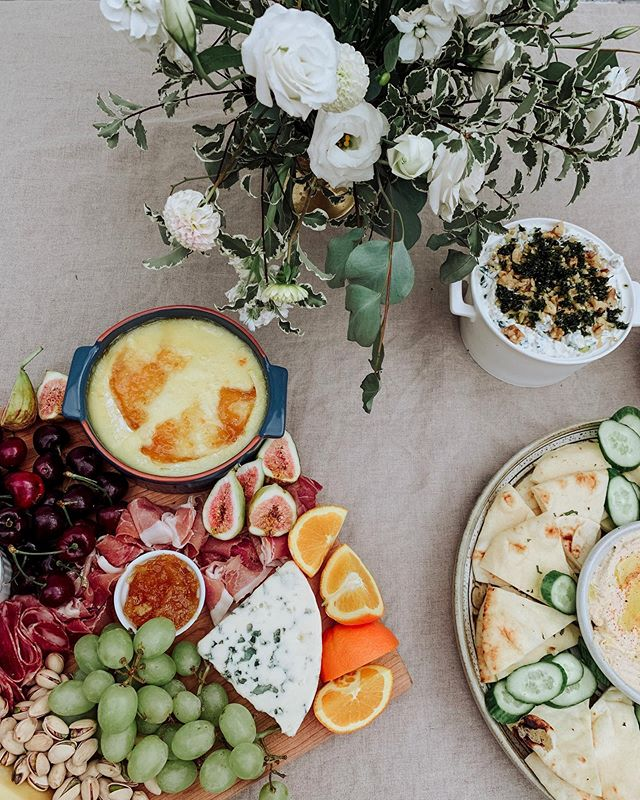 Cheese board (w melty Brie hello) and hummus platter for the most lovely baby shower 💕