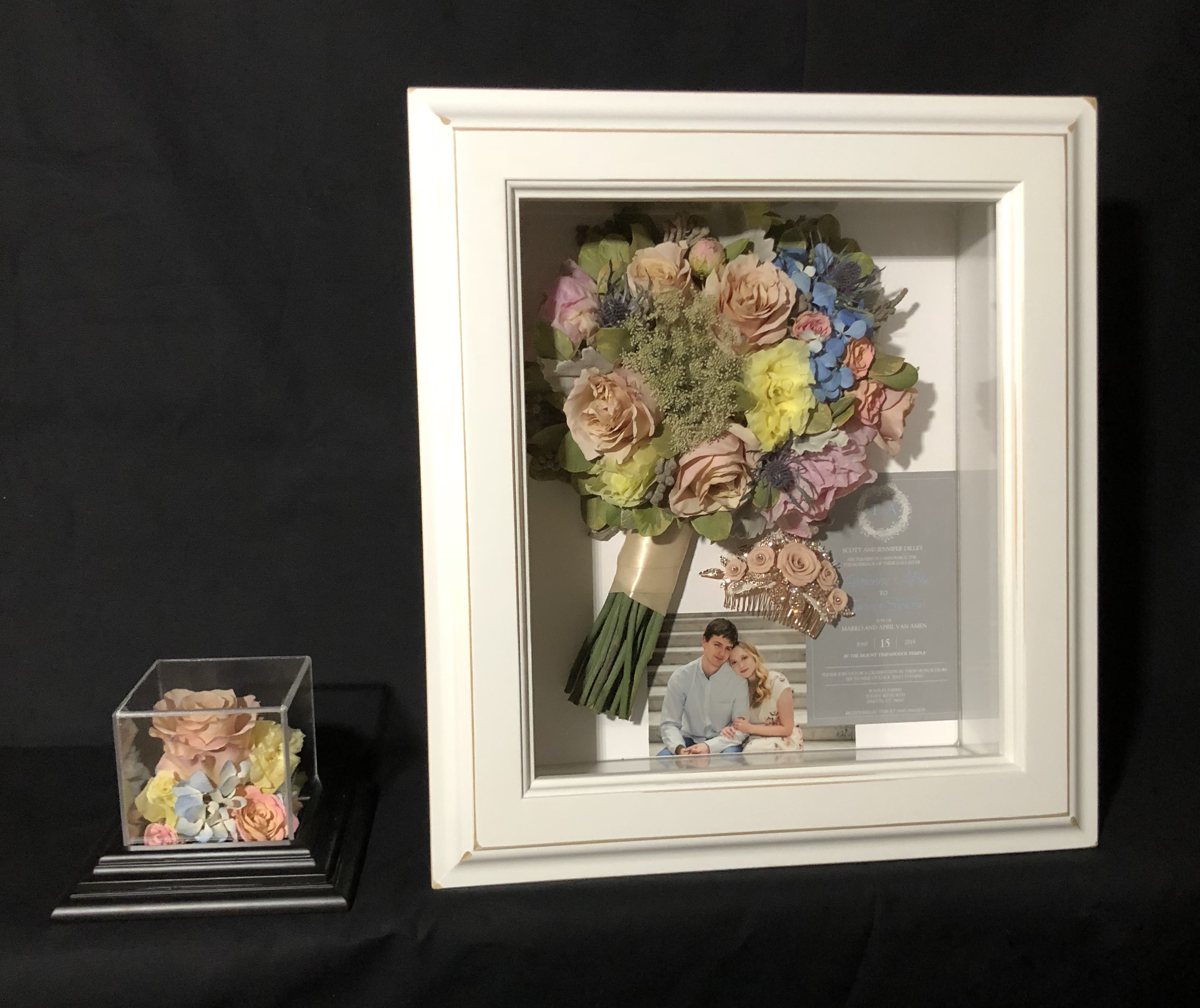 """Large Shadow Box and 4"""" Cube (Makes a Great Bridesmaid Gift!) - seen here"""