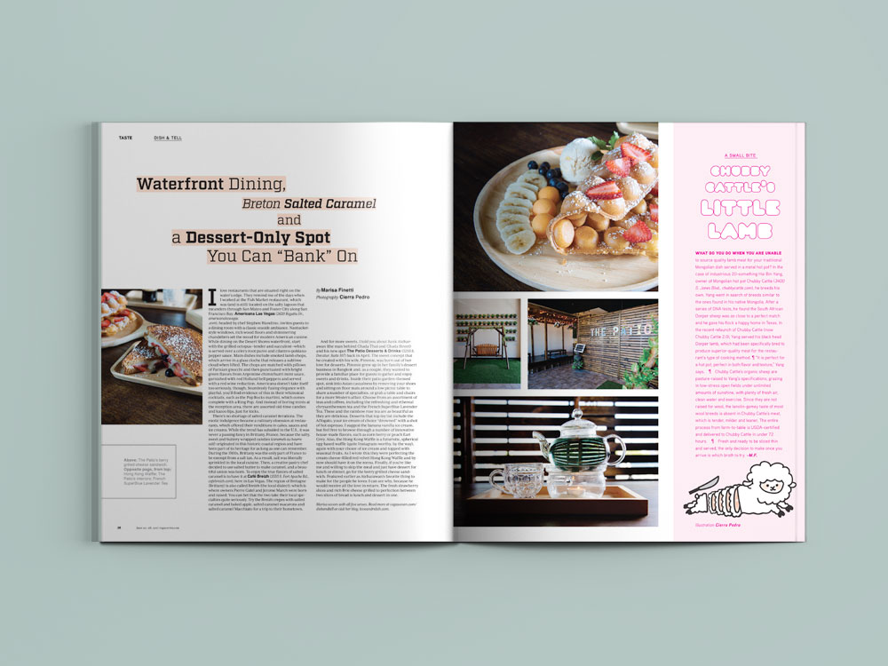 """Photography, illustrations and layout for """"Dish & Tell"""" by Marisa Finetti in  Vegas Seven."""