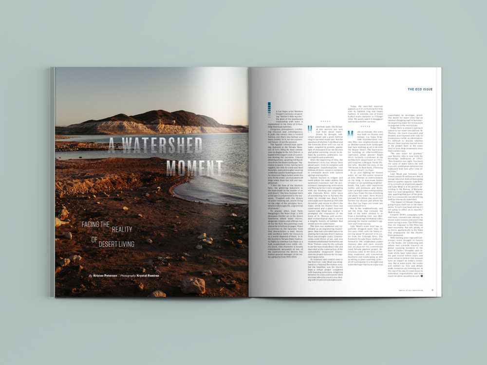 """Layout for """"A Watershed Moment"""" by Kristen Peterson in  Vegas Seven's  Eco Issue. Photography by Krystal Ramirez"""