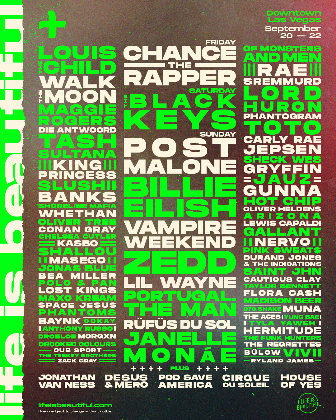 Lineup Poster, 2019. Initial announcement release.