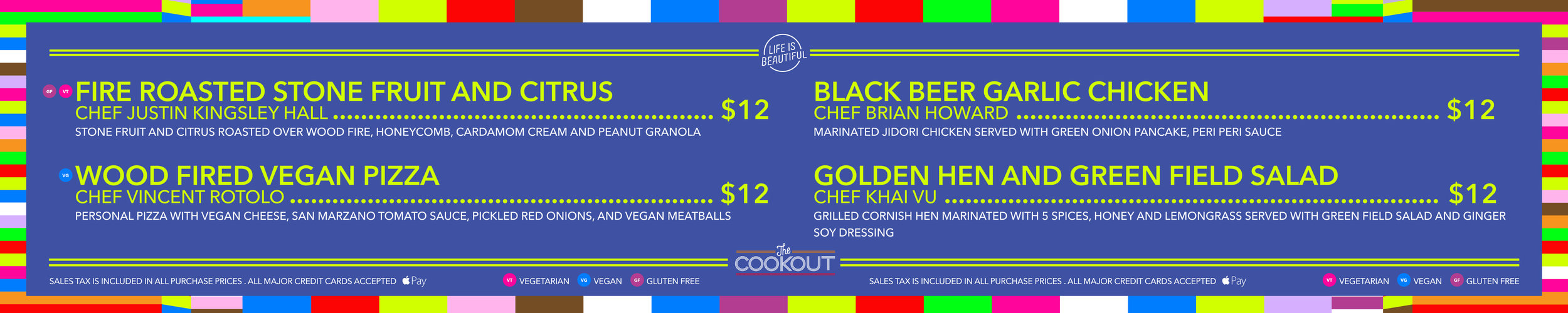 Culinary Signage for The Cookout GA Activations: Menu