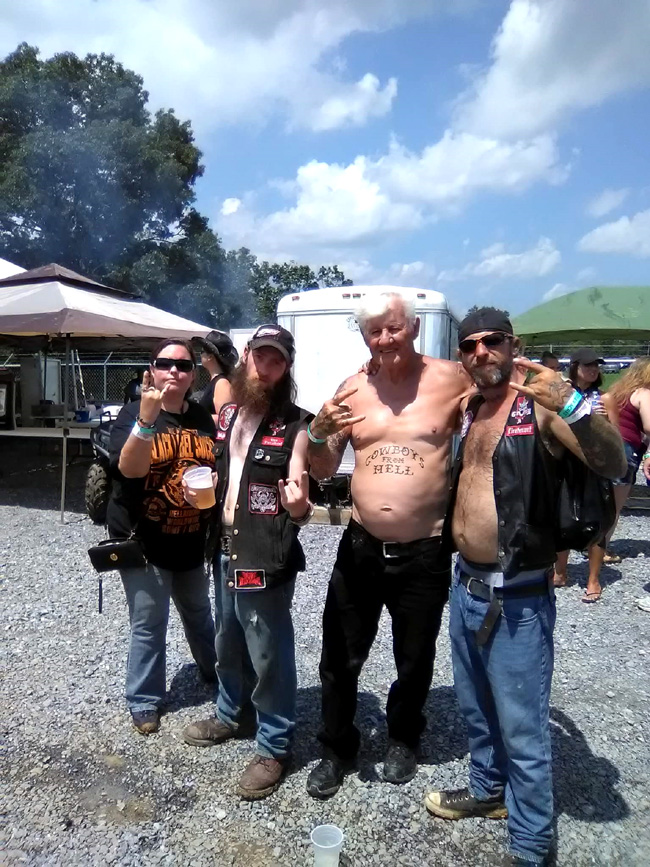 Left to right: Kristin Welcome (Outlaw Review), Mike Burns ( Syko Myko of WV GMA/ Primal Ohm) Heavy Metal Dave, and Jay Wilcox ( Prime Time of WV GMA/ Primal Ohm)