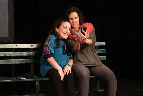 Sarah Folkins and Annette Guarrasi in   The Tennis Climb  at Queens Theatre's Park Plays -Photo by Dominick Totino Photography