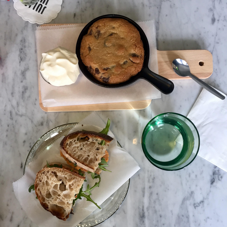 "Hummus sandwich & chocolate chip ""cookie"" at Julia & Julia"