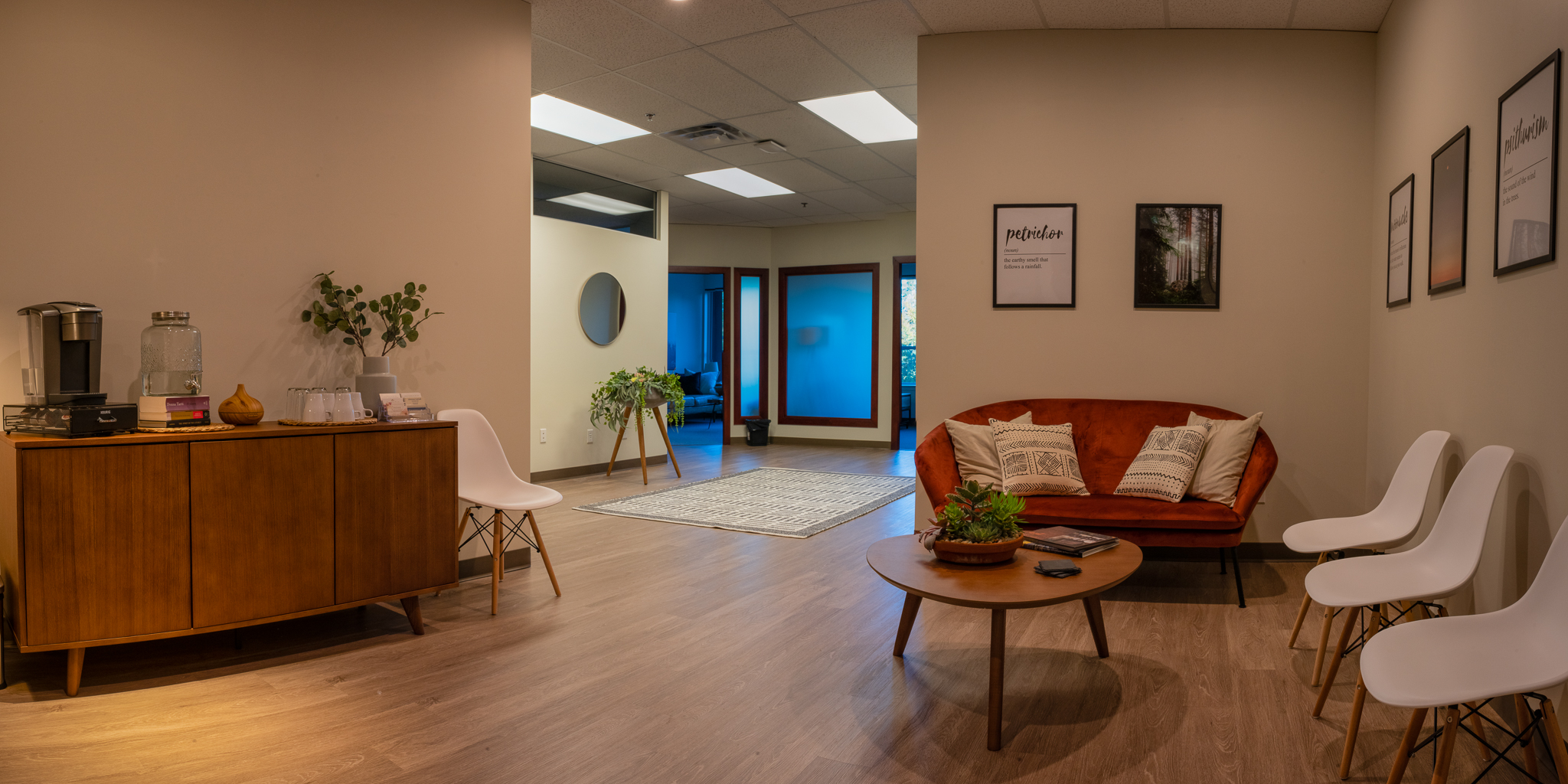 As you open the door to our office, you are greeted by calm music, and a choice of beverages while you wait for your counsellor