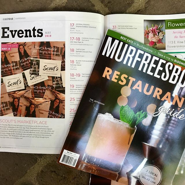 Thanks @murfreesboromag for supporting @scoutsmarketplacetn We're looking forward to seeing everyone tomorrow! #nashville #murfreesboroevents #tennesseeevents #murfreesborotn #murfreesboro