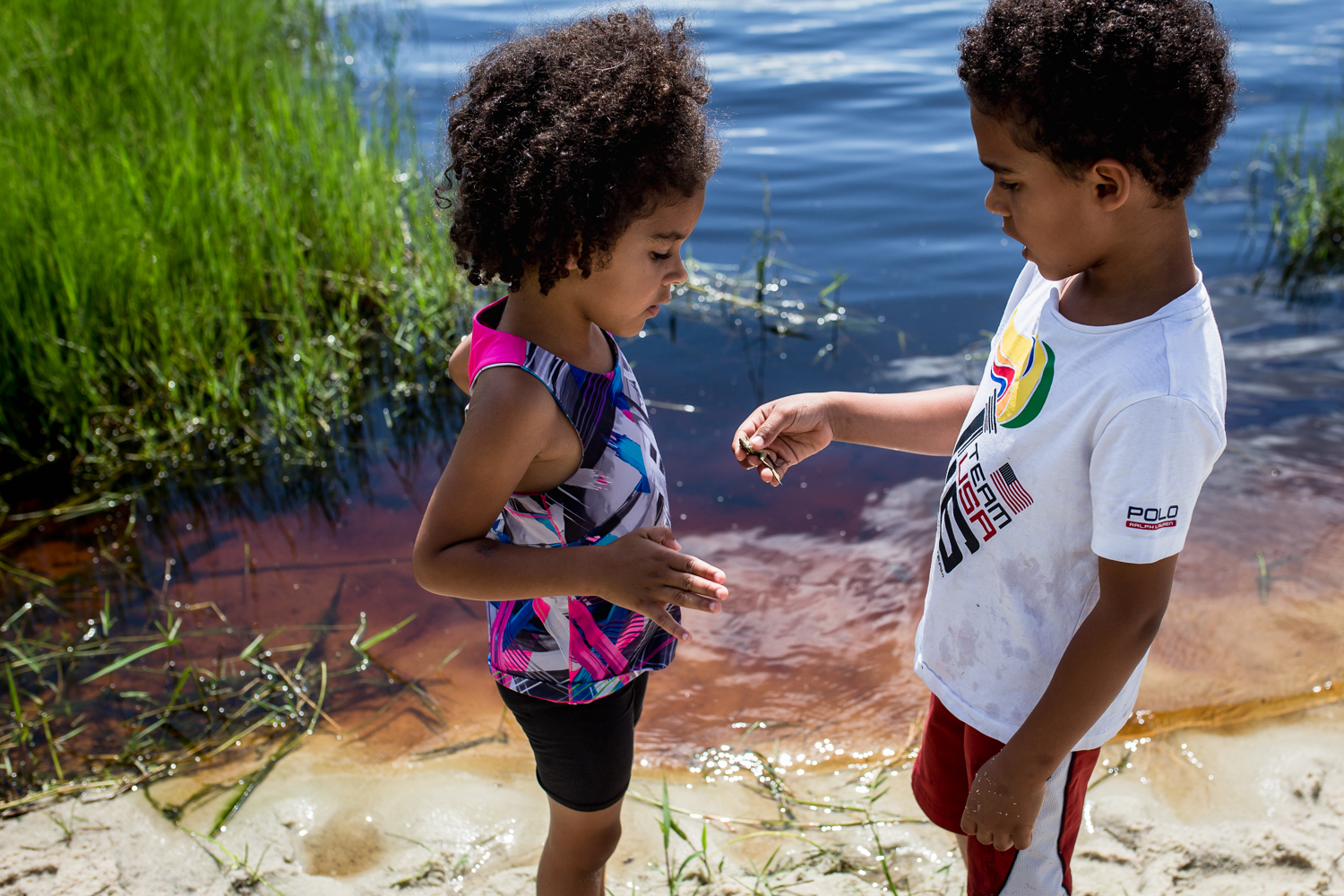 Boy showing sister a frog at Lake Louisa State Park in Clermont, Florida.