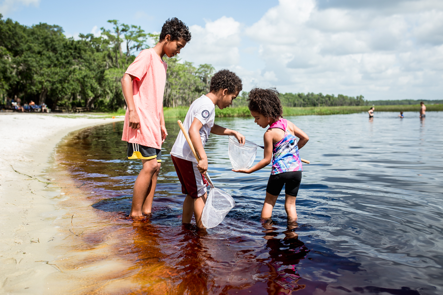 Children play in the water at Lake Louisa State Park in Clermont, Florida.