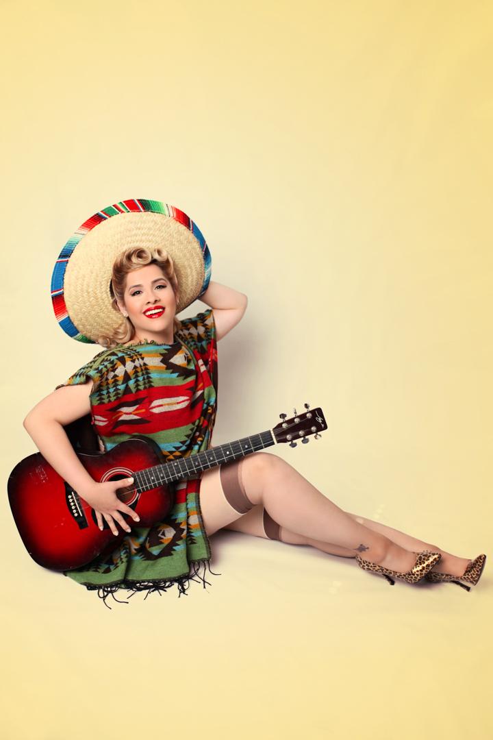 Chicago-Pinup-Photographer-Sombrero-Poncho-Guitar-Combo