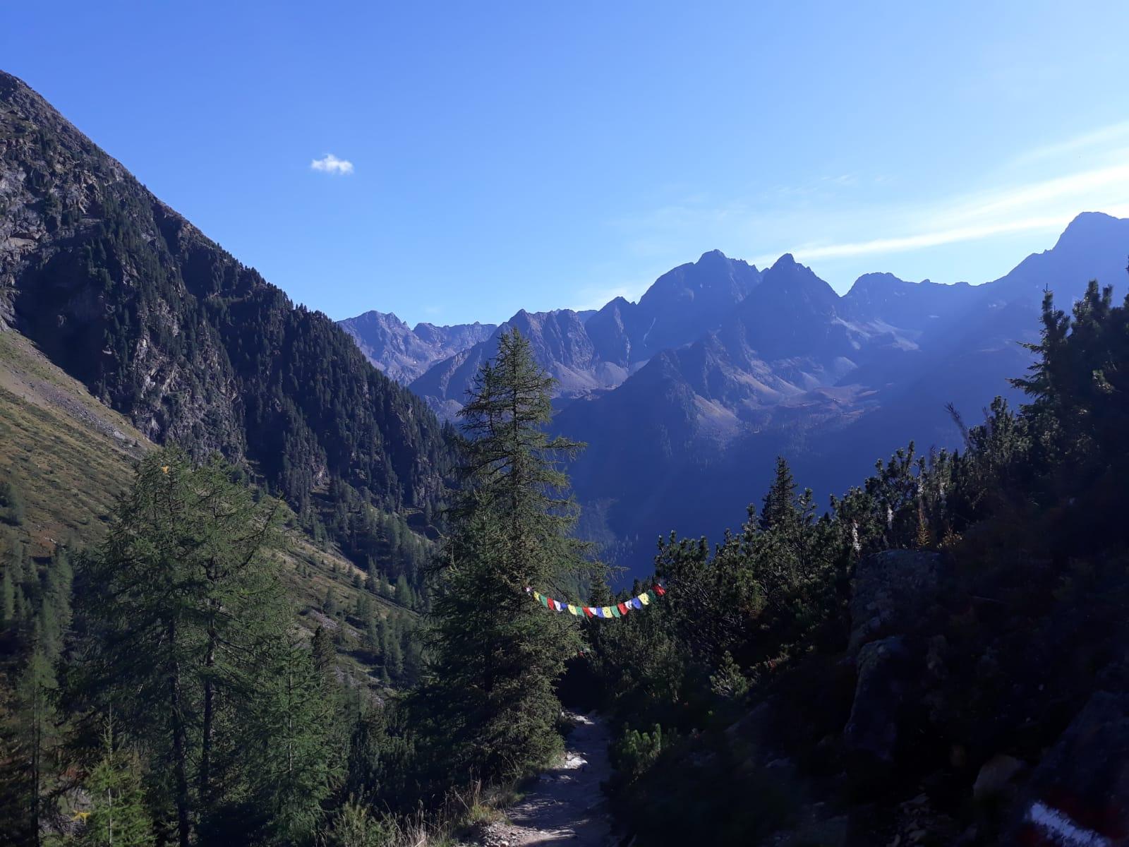 Berge, blauer Himmel, Bäume, Wanderweg, Nepalflaggen.jpg