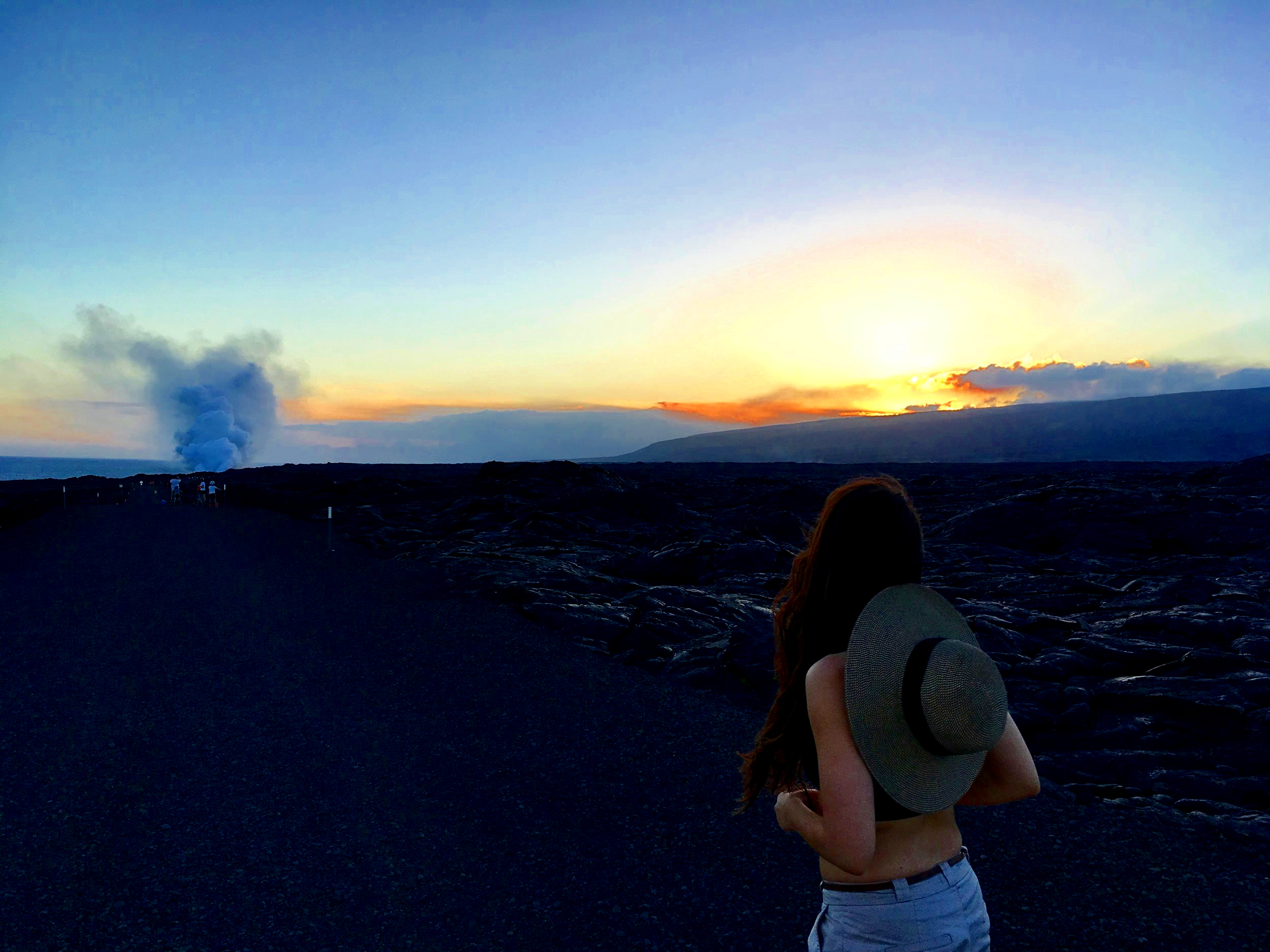 HIKING inTO Pelée AT SUNSET to see volcano flow, big island hawaii
