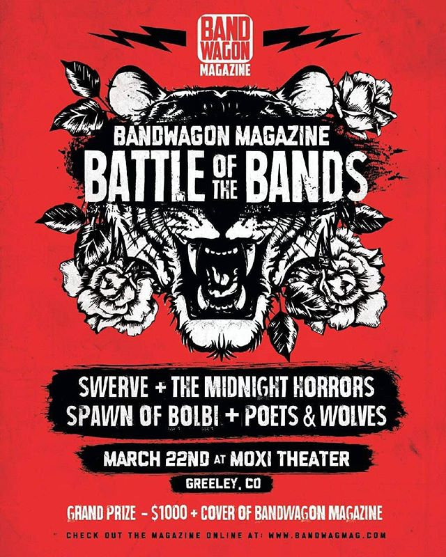 March 22nd Let's battle. Or break dance fight. I don't care! #BattleoftheBands #GreeleyColorado  #PoetsandWolves #altrock  #Colorado