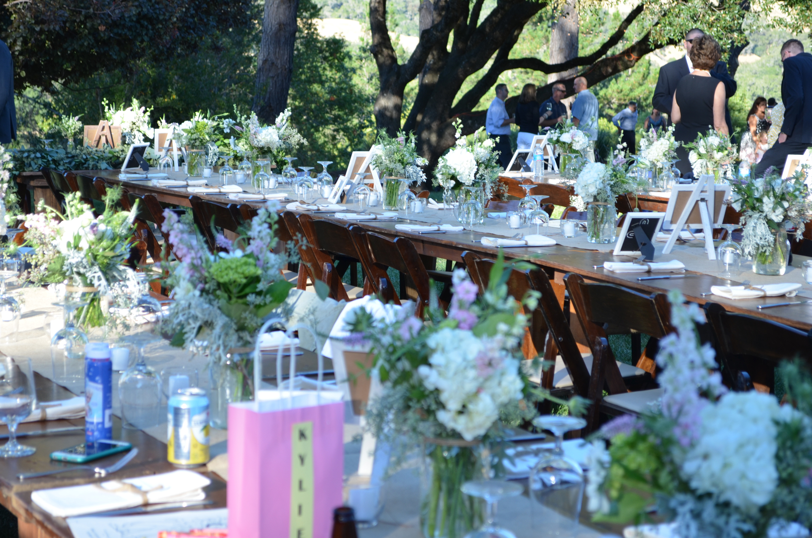 Colorfully decorated tables await wedding guests at Indian Creek Inn in Anderson Valley, CA