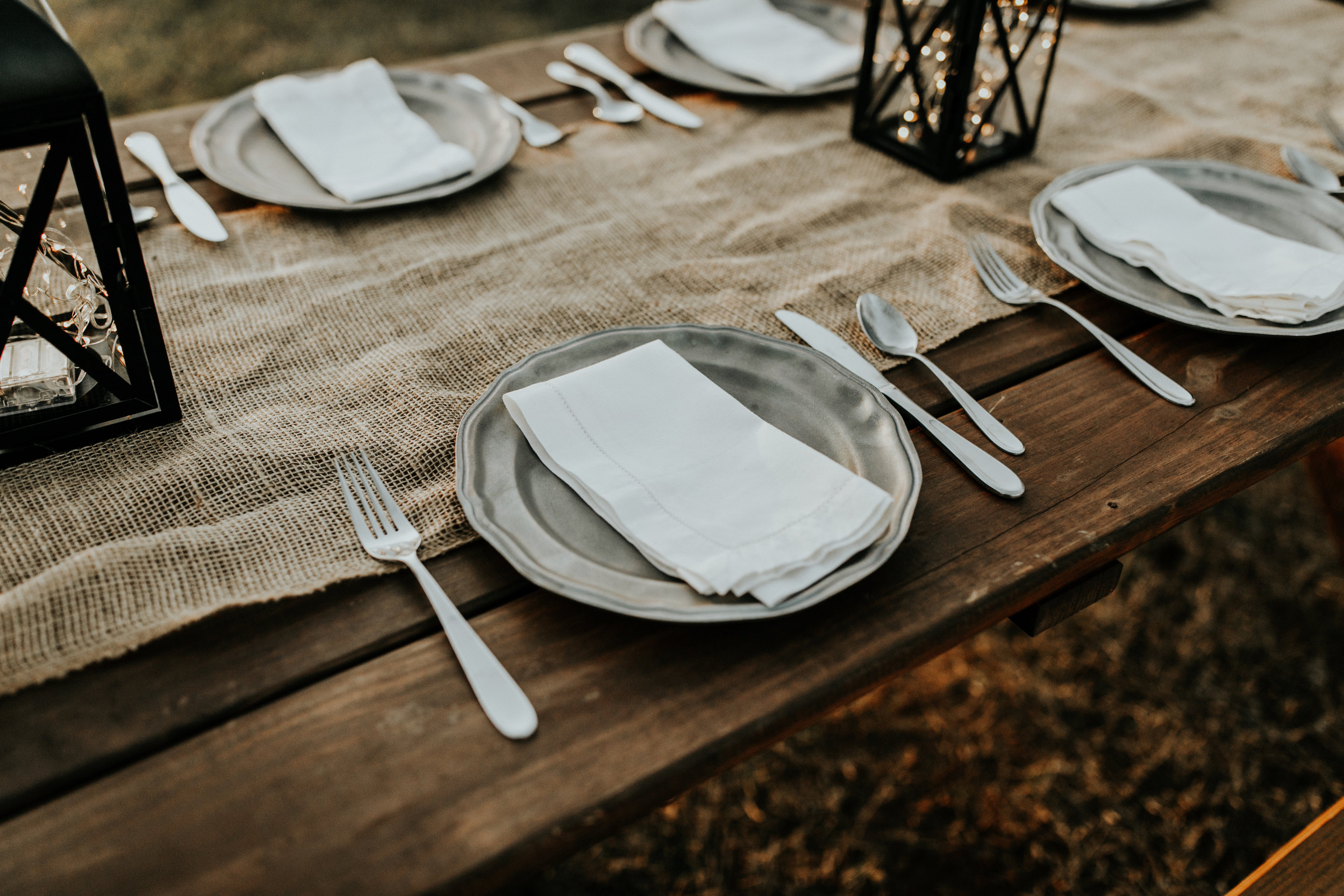 A place setting at a rustic table