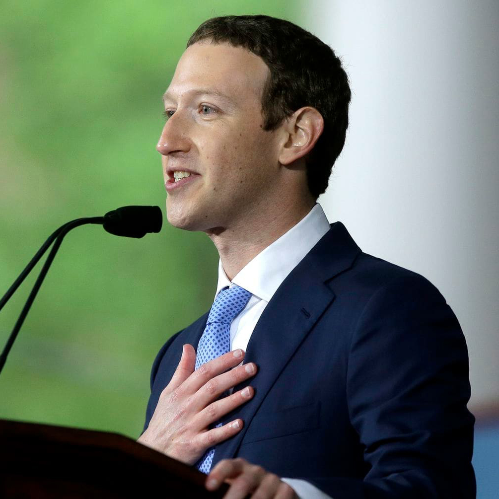 Facebook CEO Mark Zuckerberg delivers the commencement address at Harvard University in 2017. (photo credit: Steven Senne/AP)