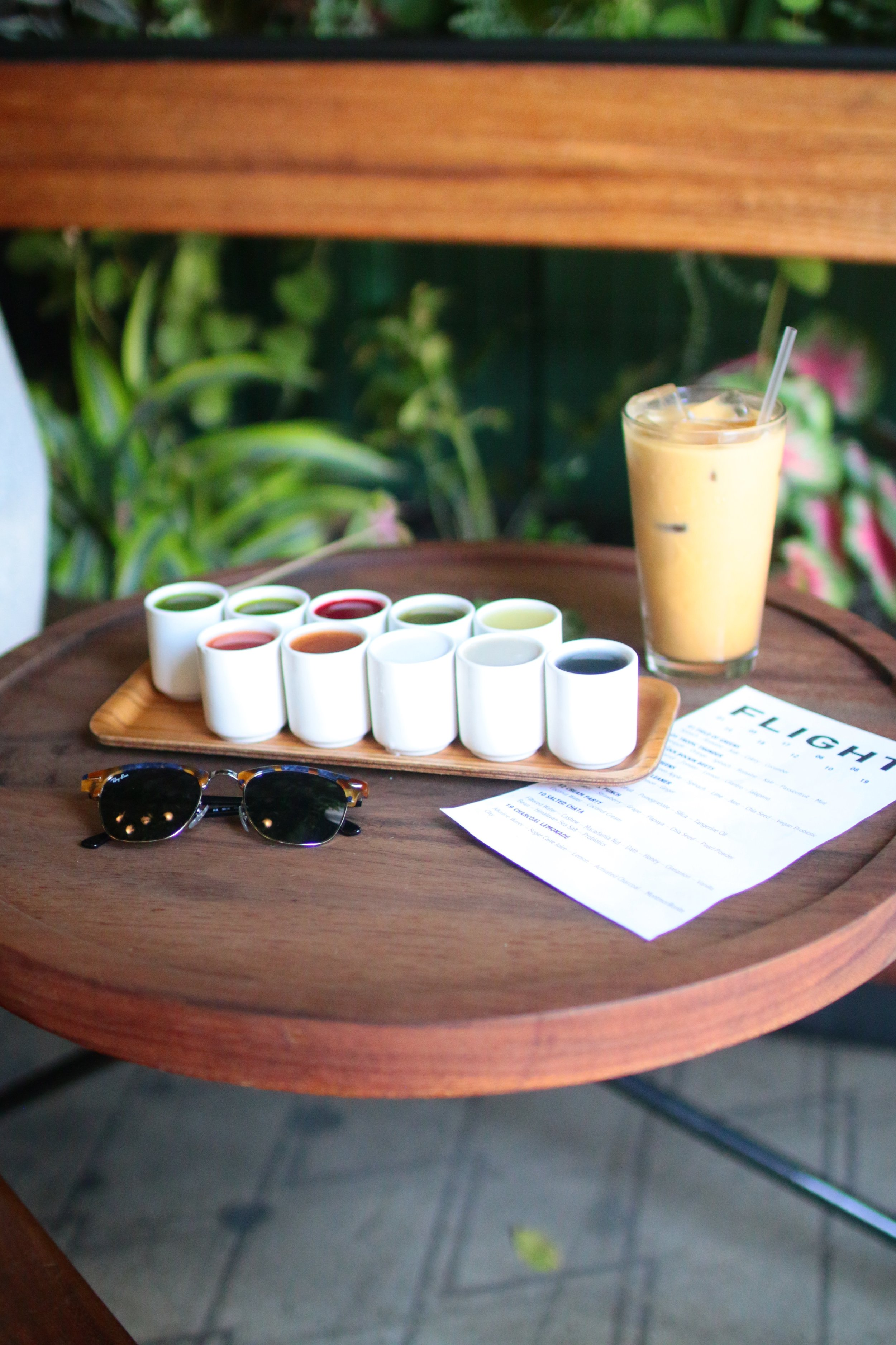 the coffee & the food - At Verve I ordered The Missile iced coffee ($5.50), which was recommend to me by a staff member there. The Missile is another absolutely wonderfully sweet drink, no additional sweetener needed! This is a great go to as the weather starts to warm up again since it comes iced and is so refreshing!I also decided to switch it up and try a sampler platter from the brand 'Juice.' The juice sampler is a bit more hit or miss and will vary depending on what each person likes and orders! I had a ton of a fun trying each flavor and seeing which I liked best. My favorites are definitely Pearl Punch & Tropic Thunder. Overall, this was a super fun activity, so grab a friend and get a juice sampler of your own!