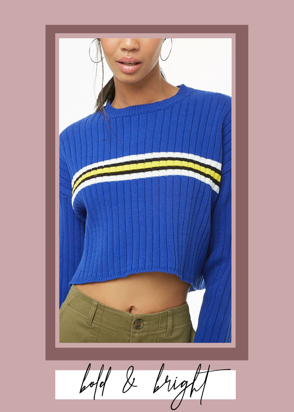 007. - STRIPED-TRIM CROPPED SWEATERForever 21 // $20