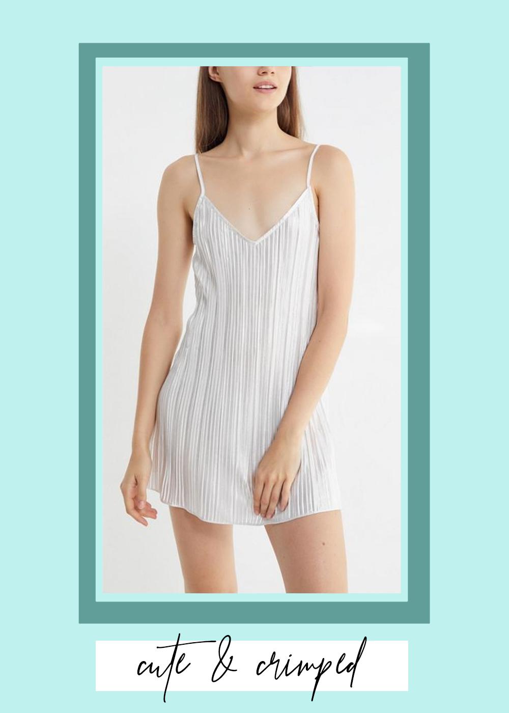 002. - UO Metallic Pleated Slip Mini DressUrban Outfitters // $59