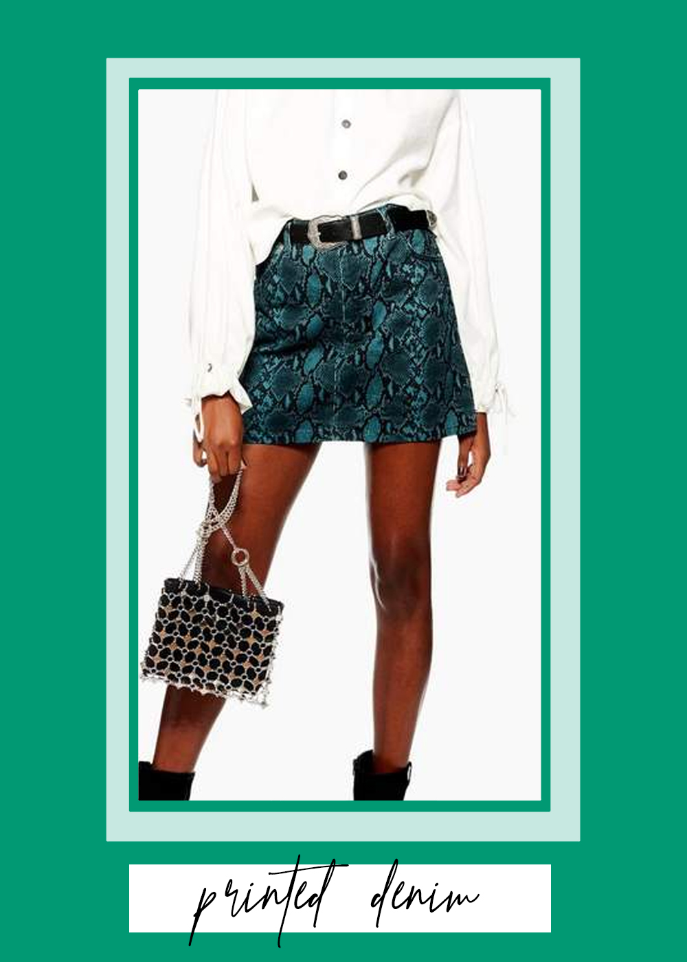 001. - Printed Denim Skirt // $60