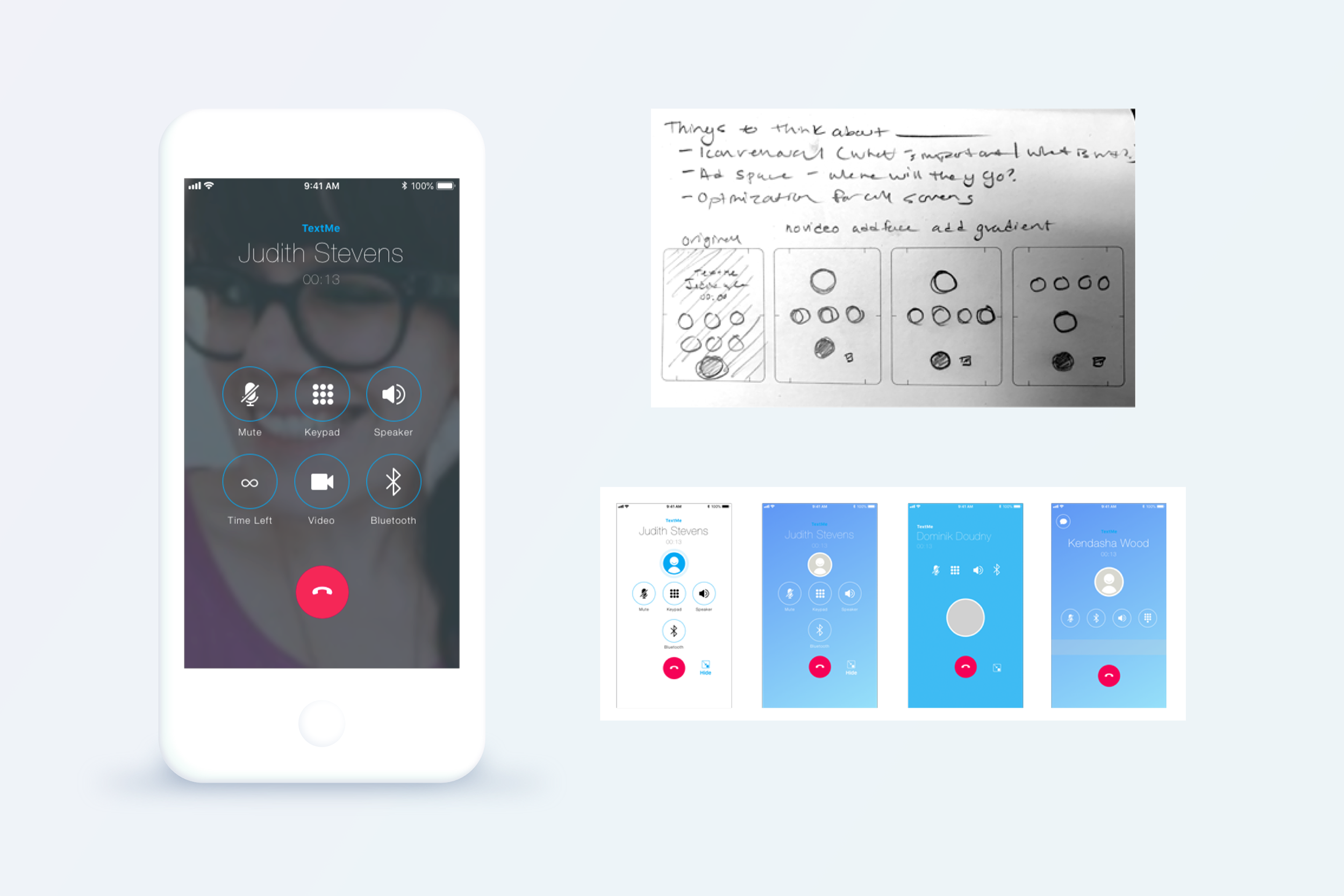 Call Screen  BEFORE  - Sketches & Wireframing