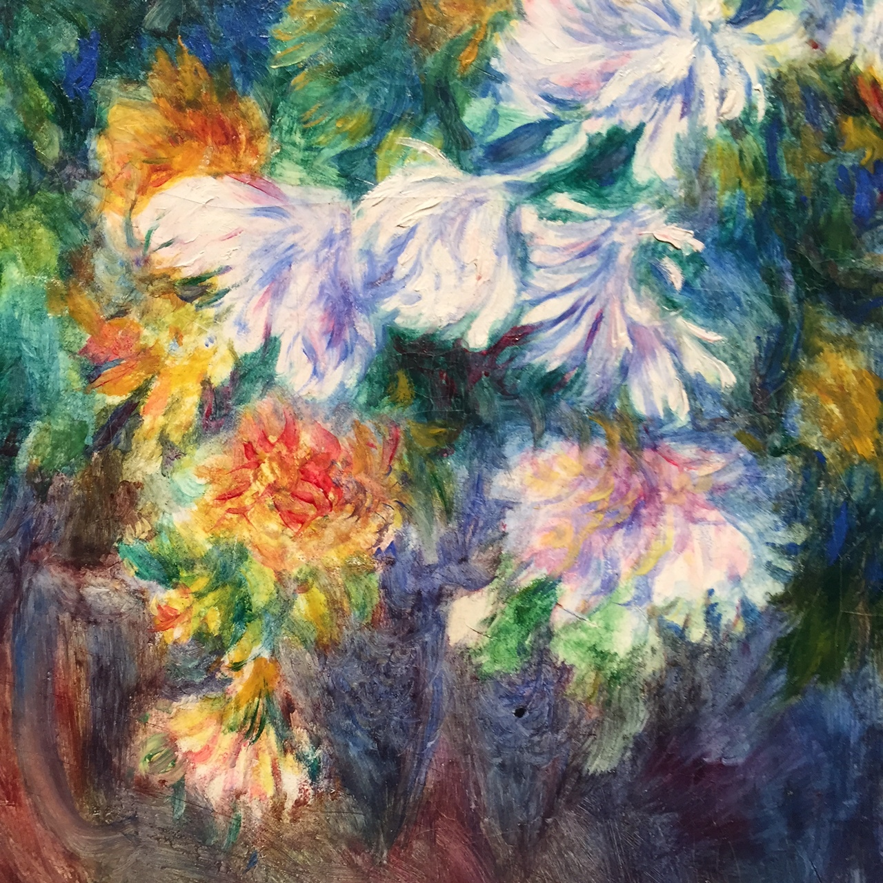"Detail photo we took of a Renoir that hangs in the Chicago Institute of Art that inspired us with its lush and wildly dangling floral arrangement. Renoir and Monet both contain such a riot of color, we feel that even though they are French, their works are inspirational when clients are looking for an ""English country garden"". We think perhaps ""Provence"" is equally apropos."
