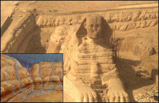 The Great Sphinx of Egypt in its enclosure, with a diagram indicating the deep fissures and undulating surfaces created by water (rainfall) weathering and erosion. (Diagram from the documentary  The Mystery of the Sphinx. )