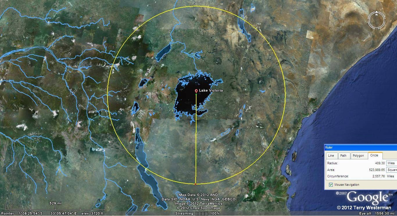 At 409 miles the geography follows the circle nicely all around the East side