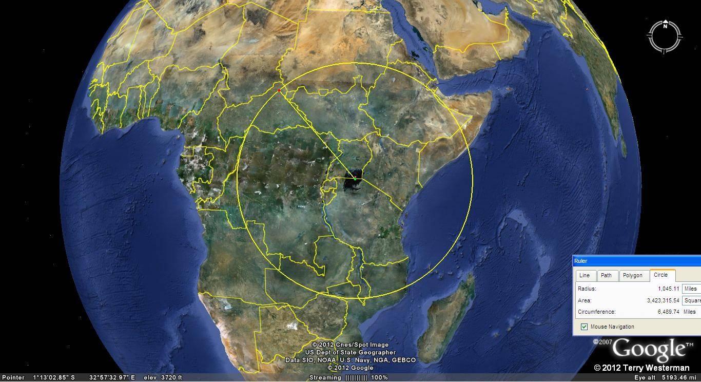 Lake Victoria seismic circle at 1045 miles radius.