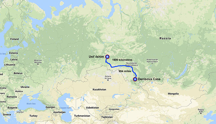 The distance between Denisova Cave and Ust'-Ishim.