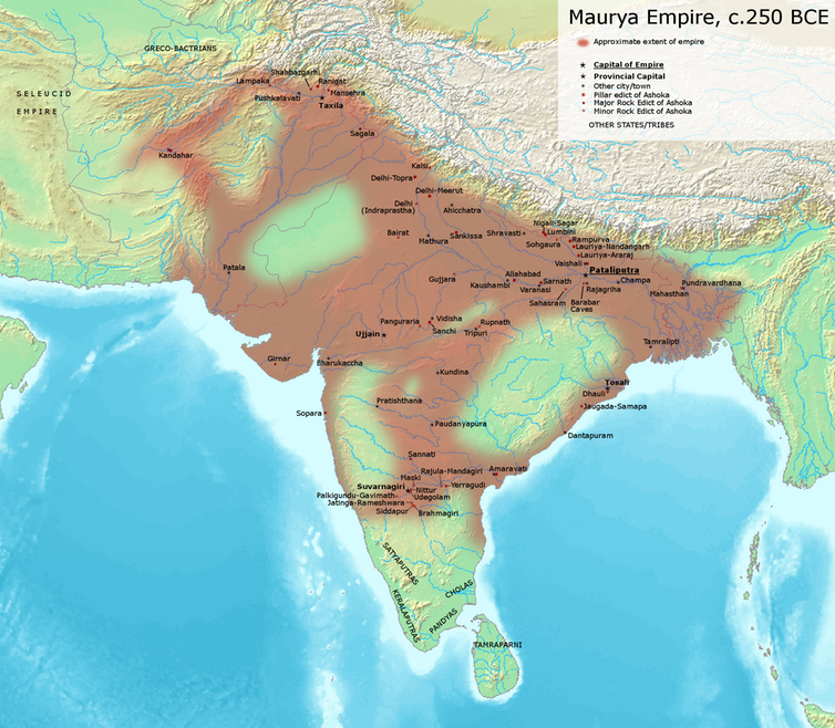The sprawling Maurya Empire in about 250 B.C.  Avantiputra7/Wikimedia Commons ,  CC BY-SA