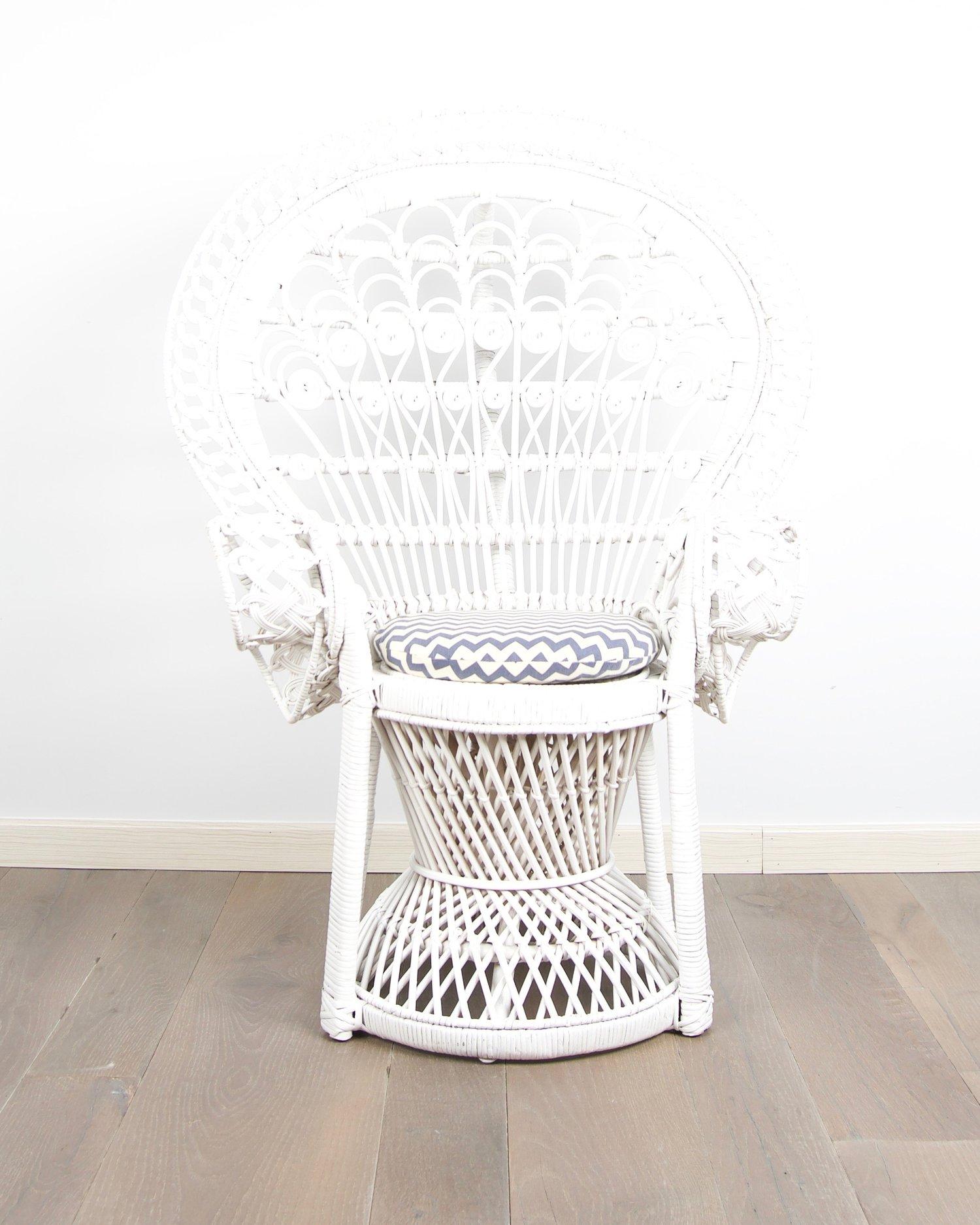 Kids Rattan Pea Chair White