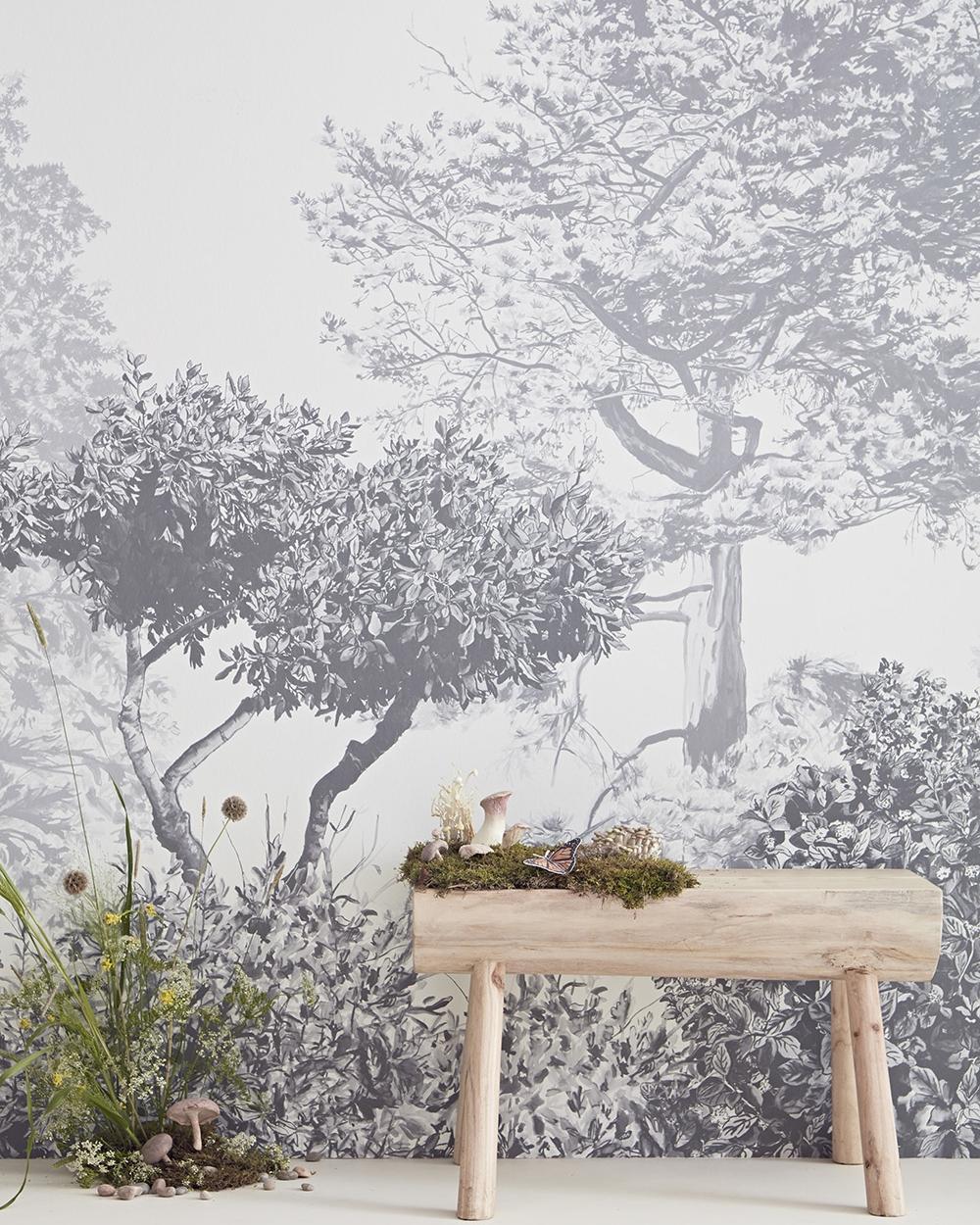Classic Hua Trees Mural Wallpaper Grey Decordinary